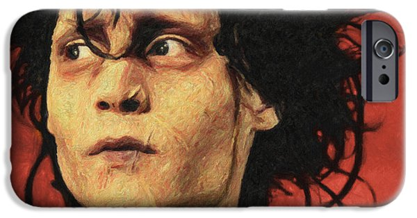 Tim Paintings iPhone Cases - Edward Scissorhands iPhone Case by Taylan Soyturk