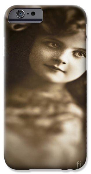 Child iPhone Cases - Edwardian Young Girl iPhone Case by Jan Bickerton