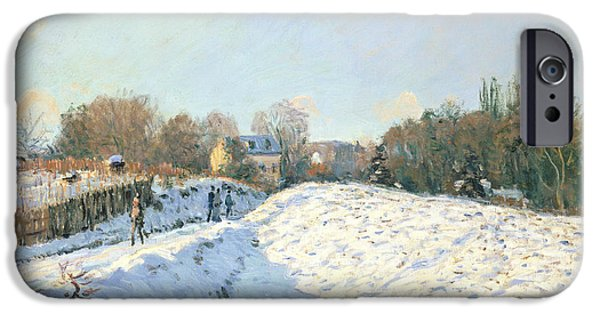 Winter Wonderland iPhone Cases - Effect of Snow at Argenteuil iPhone Case by Alfred Sisley