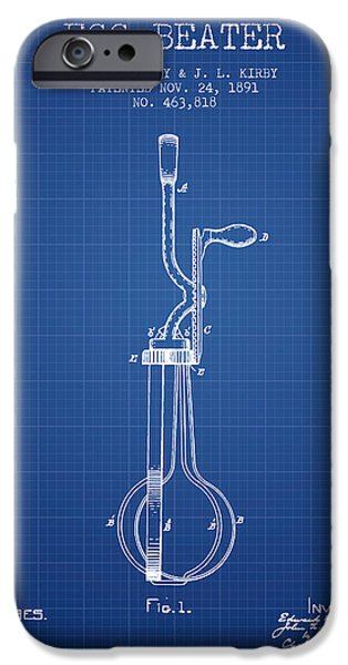 Beaters iPhone Cases - Egg Beater patent from 1891 - Blueprint iPhone Case by Aged Pixel