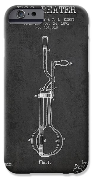 Beaters iPhone Cases - Egg Beater patent from 1891 - Dark iPhone Case by Aged Pixel
