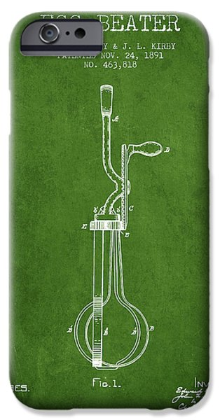 Beaters iPhone Cases - Egg Beater patent from 1891 - Green iPhone Case by Aged Pixel