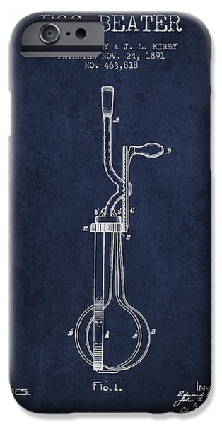 Beaters iPhone Cases - Egg Beater patent from 1891 - Navy Blue iPhone Case by Aged Pixel