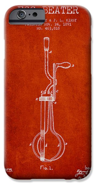 Beaters iPhone Cases - Egg Beater patent from 1891 - Red iPhone Case by Aged Pixel