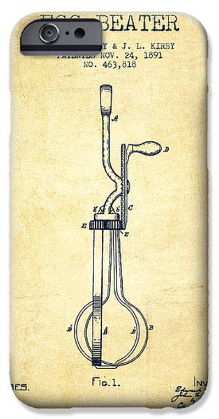 Beaters iPhone Cases - Egg Beater patent from 1891 - Vintage iPhone Case by Aged Pixel
