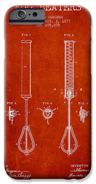 Beaters iPhone Cases - Egg Beaters patent from 1877 - Red iPhone Case by Aged Pixel