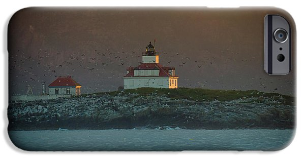 Lighthouse iPhone Cases - Egg Rock Island Lighthouse iPhone Case by Sebastian Musial