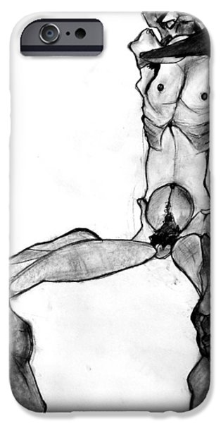 Creepy Pastels iPhone Cases - Egon Schiele Nude iPhone Case by Britt Kuechenmeister