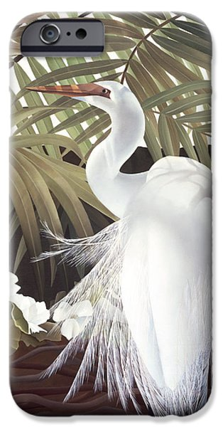 Snowy Egret iPhone Cases - Egret and Palms iPhone Case by Laura Regan