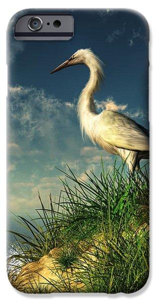 Stork iPhone Cases - Egret in the Dunes iPhone Case by Daniel Eskridge