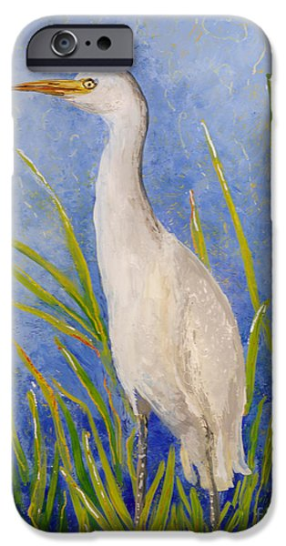 Bright Colors Glass Art iPhone Cases - Egret Morning iPhone Case by Anna Skaradzinska