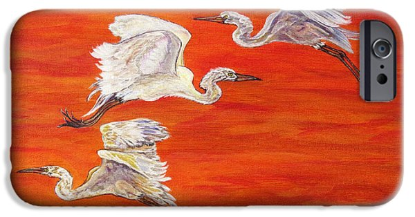 Abstract Digital Paintings iPhone Cases - Egrets In Flight iPhone Case by Ella Kaye Dickey
