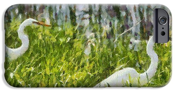 D Wade Paintings iPhone Cases - Egrets Painting iPhone Case by Dan Sproul