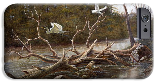 Waterscape Mixed Media iPhone Cases - Egrets Paradise iPhone Case by Gregory Perillo