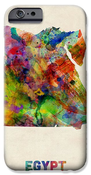 Egypt Watercolor Map iPhone Case by Michael Tompsett