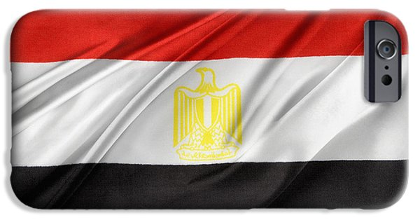 Patriotism iPhone Cases - Egyptian flag iPhone Case by Les Cunliffe