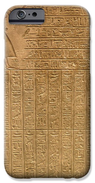 Antique iPhone Cases - Egyptian hieroglyphics iPhone Case by Gina Dsgn