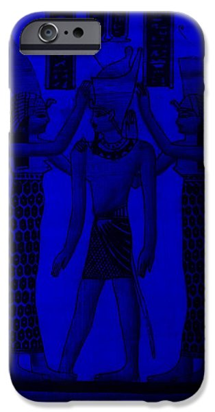 Horus Digital Art iPhone Cases - Pharaoh Atem Blue iPhone Case by Rob Hans