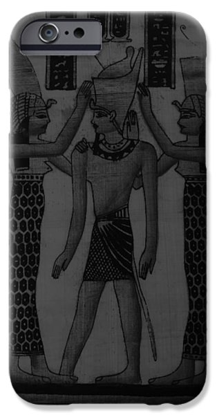 Horus Digital Art iPhone Cases - Pharaoh Atem Charcoal iPhone Case by Rob Hans