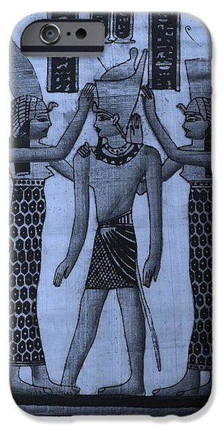 Horus iPhone Cases - Pharaoh Atem Cyan iPhone Case by Rob Hans