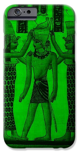 Horus iPhone Cases - Pharaoh Atem Green iPhone Case by Rob Hans