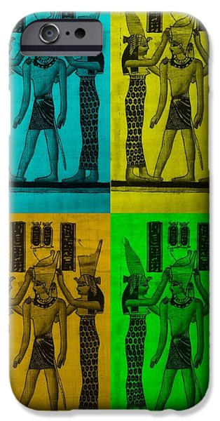 Horus Digital Art iPhone Cases - PHARAOH ATEM in COLORS 2 iPhone Case by Rob Hans
