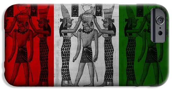 Horus Digital Art iPhone Cases - PHARAOH ATEM in FLAG COLORS iPhone Case by Rob Hans