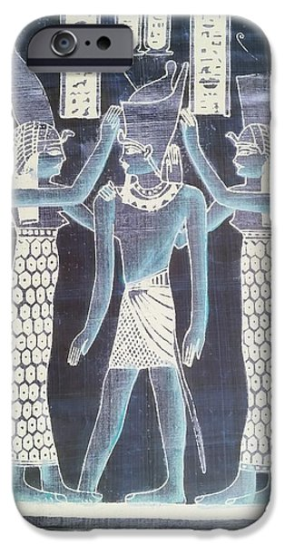 Horus iPhone Cases - Pharaoh Atem Negative iPhone Case by Rob Hans