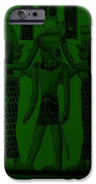 Horus Digital Art iPhone Cases - Pharaoh Atem Olive iPhone Case by Rob Hans