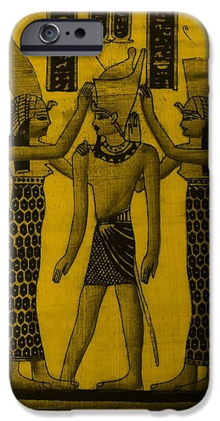 Horus Digital Art iPhone Cases - Pharaoh Atem Orange iPhone Case by Rob Hans