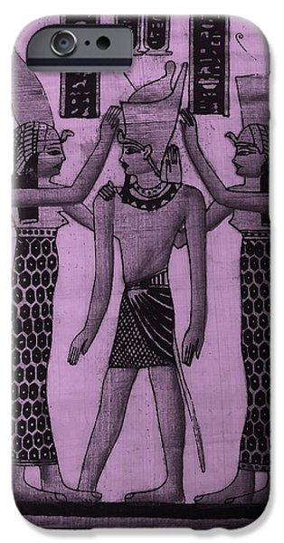 Horus iPhone Cases - Pharaoh Atem Pink iPhone Case by Rob Hans