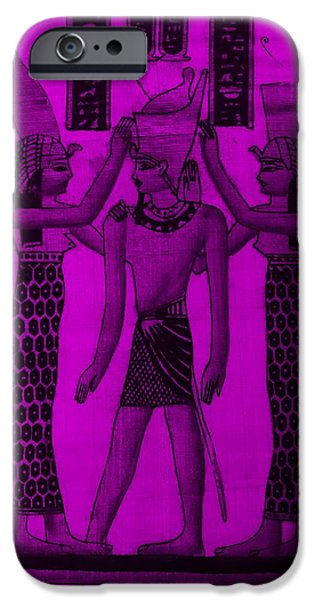 Horus iPhone Cases - Pharaoh Atem Purple iPhone Case by Rob Hans