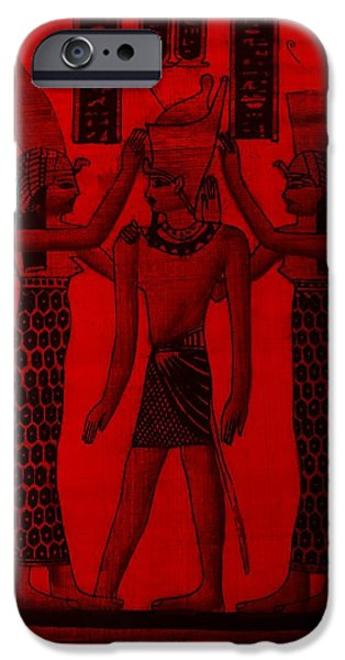 Horus Digital Art iPhone Cases - Pharaoh Atem Red iPhone Case by Rob Hans
