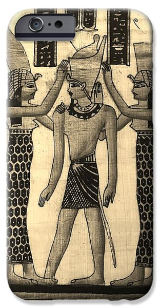 Horus Digital Art iPhone Cases - Pharaoh Atem Sepia iPhone Case by Rob Hans