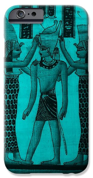 Horus iPhone Cases - Pharaoh Atem Turquoise iPhone Case by Rob Hans