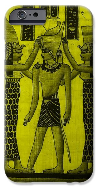 Horus Digital Art iPhone Cases - Pharaoh Atem Yellow iPhone Case by Rob Hans