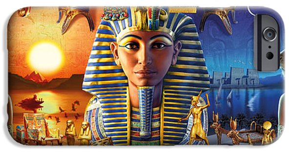 Pharaoh iPhone Cases - Egyptian Triptych 2 iPhone Case by Andrew Farley