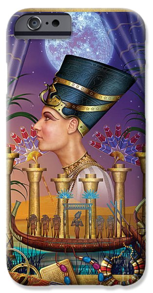 Gypsy Digital Art iPhone Cases - Egyptian Triptych Variant III iPhone Case by Ciro Marchetti
