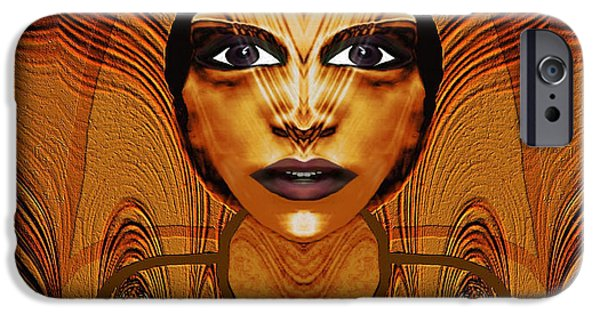 Relief Print iPhone Cases - 055 - Egyptian Woman Warrior Magic   iPhone Case by Irmgard Schoendorf Welch