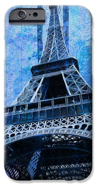 Built Structure Digital Art iPhone Cases - Eiffel Tower 2 iPhone Case by Jack Zulli