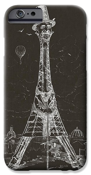 Caricature Digital Art iPhone Cases - Eiffel Tower iPhone Case by Aged Pixel