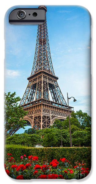 Europa iPhone Cases - Eiffel Tower and Red Roses iPhone Case by Inge Johnsson
