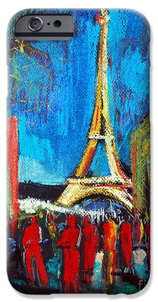 Blue Pastels iPhone Cases - Eiffel Tower And The Red Visitors iPhone Case by Mona Edulesco