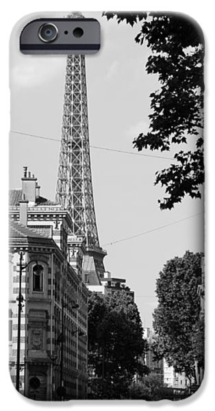 Eiffel Tower Black and White 4 iPhone Case by Andrew Fare