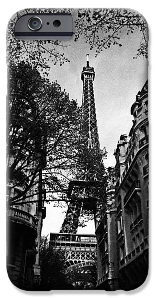 Eiffel Tower Black and White iPhone Case by Andrew Fare