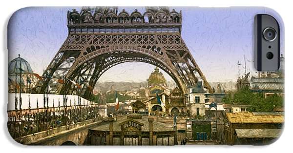Horse And Buggy Digital iPhone Cases - Eiffel Tower Worlds Fair iPhone Case by John K Woodruff
