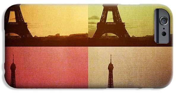 City Scape Photographs iPhone Cases - Eiffel Tower in Sunset iPhone Case by Marianna Mills