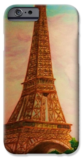 Built Structure iPhone Cases - Eiffel Tower In THe Clouds iPhone Case by Irving Starr