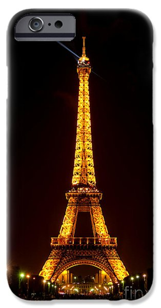 Gathering Photographs iPhone Cases - Eiffel Tower Night iPhone Case by Olivier Le Queinec