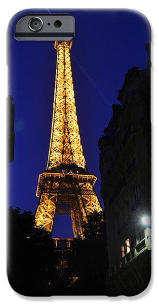 Cultural Icon iPhone Cases - Eiffel Tower Paris France at Night iPhone Case by Patricia Awapara